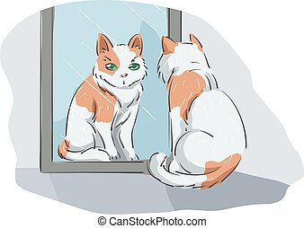 Cat Mirror Reflection - Animal Illustration Featuring a Cat...