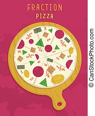 Math Fraction Pizza Shapes - Mathematical Illustration of a...