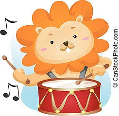 Mascot Music Lion Drums
