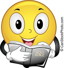 Smiley Read Bible Passages - Mascot Illustration of a Happy...
