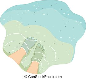English Antonym Feet Shallow - Cropped Illustration of a...