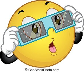 Smiley Eclipse Sun Glass - Mascot Illustration of a Happy...