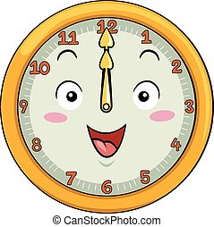 Mascot Clock 12 Noon - Mascot Illustration of a Smiling...