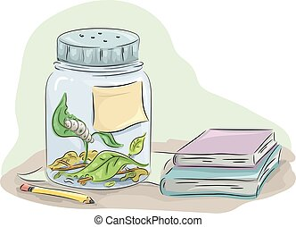 Caterpillar Study Jar Books - Animal Illustration Featuring...