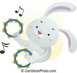 Mascot Music Rabbit Tambourine