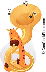Mascot Music Giraffe Tuba - Animal Mascot Illustration...