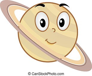 Planet Mascot Saturn Rings Orbit - Illustration of a Saturn...