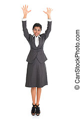 Indian business woman arms raised - Full length portrait of...