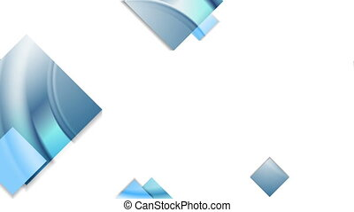 Abstract blue glossy geometric squares animated background....