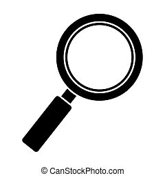 black silhouette of magnifying glass