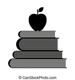 Education symbol stack of books and apple vector...