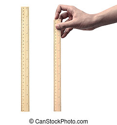Set of hand holding ruler