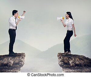 Asian business man and woman shout each other. Business...