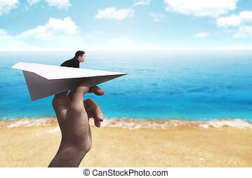 Business man ready to launch with the paper plane