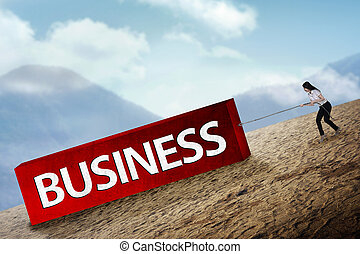 Woman pulling block with business type - Business woman...
