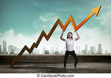 Asian business woman raise up sales chart so its ascending