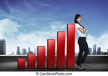 Business woman lean on graph - Asian business woman lean on...