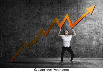 Business woman raise up sales chart so its ascending - Asian...