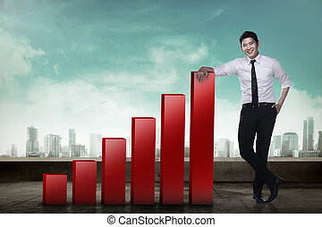 Business man lean on graph - Asian business man leaning to...