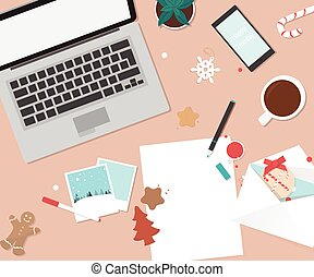 Paper on the table with Christmas decorations