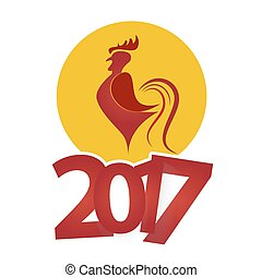 Year of the Rooster: 2017 Chinese Zodiac. Vector...