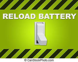 """Reload Battery concept - 3D illustration of """"RELOAD BATTERY""""..."""