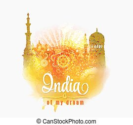 India of my dream. Illustration of India in saffron and...