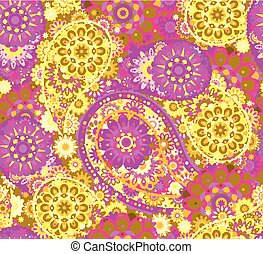 Vector seamless pattern in Eastern style. Colorful element for design. Ornamental lace tracery background. Ornate floral decor  wallpaper. Endless texture. Colored  fill.