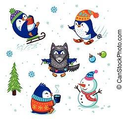 Christmas Penguin Set - Cute hand drawn penguins set....