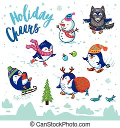 Holidays card with cute cartoon penguins - Holiday Cheers....
