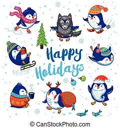 Holidays card with cute cartoon penguins - Happy Holidays...