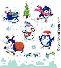 Snow sticker set with cartoon penguins, snowman and...