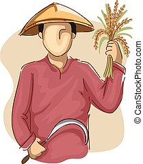 Man Farmer Scythe Wheat - Illustration of an Asian Farmer in...