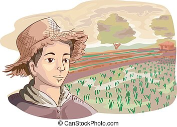 Man Farmer Rice Fields - Illustration of a Young Farmer in a...