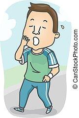 Man Start Workout Sleepy - Fitness Illustration of a Sleepy...