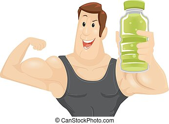 Man Muscle Energy Drink - Fitness Illustration of a Muscular...