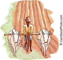 Man Farmer Traditional Farming - Illustration of a Man in a...