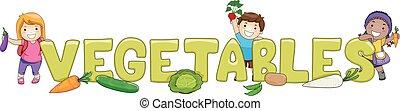 Kids Word Vegetables Lettering