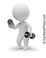 3d small people - dumbbells - 3d small people with...