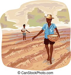 Man Traditional Farming Seeds - Illustration of a Farmer...