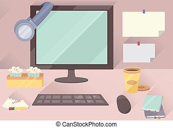 Workstation Computer Desktop - Illustration of a Typical...