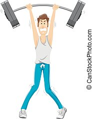 Man Weight Lift Thin - Fitness Illustration of a Skinny Man...
