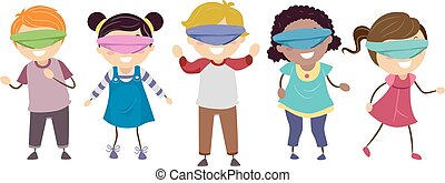 Stickman Kids Blindfold Game - Stickman Illustration of a...