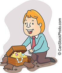 Man Found Treasure Businessman - Illustration of an Excited...