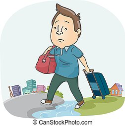 Man Moving Home City - Illustration of a Sad Man Dragging a...