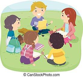 Stickman Kids Outdoor Group Study - Stickman Illustration of...
