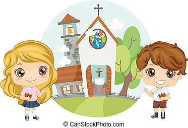 Christian Kids Attend Church Service - Illustration of a...