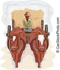 Man Farmer Traditional Cart Hay - Illustration of a Farmer...