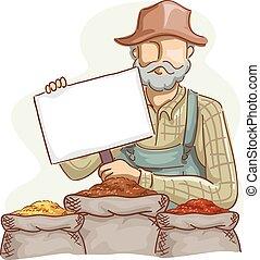 Farmer Price Board Grains - Illustration of a Farmer in...