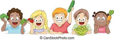 Diverse Kids Raise Vegetables Border